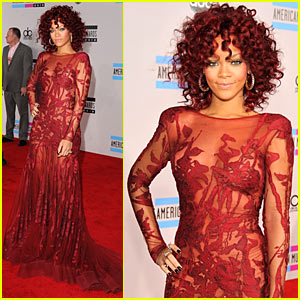 Long Sleeve  Dress on Rihanna  Amas Red Carpet 2010    2010 Amas  Rihanna   Just Jared