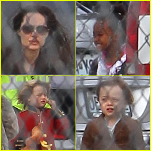 Angelina Jolie: Springfield Airport with the Kids!