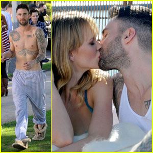 Adam Levine & Anne Vyalitsyna: Music Video Kiss!