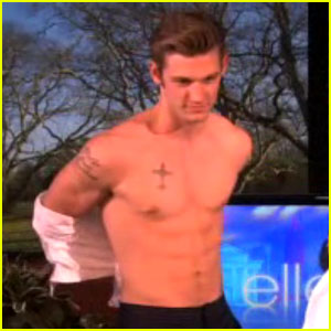 Alex Pettyfer Loses His Shirt for Ellen DeGeneres