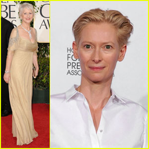 Helen Mirren & Tilda Swinton - Golden Globes 2011 Red Carpet