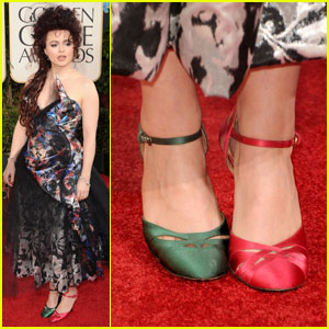 Helena Bonham Carter Mismatched Shoes At Golden Globes