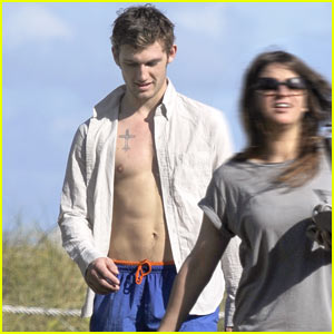 Alex Pettyfer Bulges at the Beach