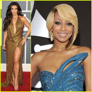 Kim Kardashian & Keri Hilson - Grammys 2011 Red Carpet