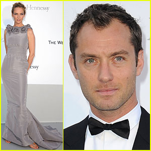 Jude Law: amfAR Gala with Uma Thurman!