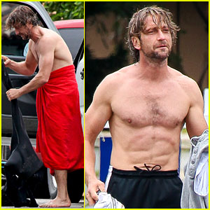 Gerard Butler: Shirtless Surfer in Malibu!