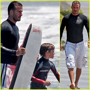 David Beckham: Boogie Boarding with Brooklyn and Romeo!