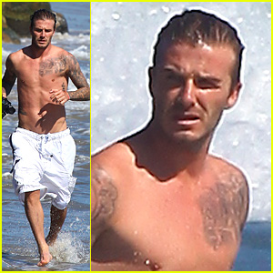 David Beckham: Shirtless Surfing!