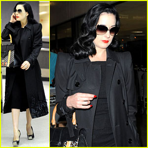 Dita Von Teese Lands in Los Angeles