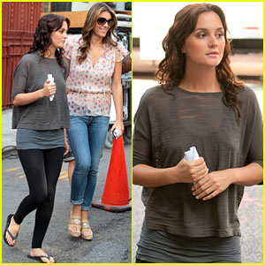 Leighton Meester: 'Gossip Girl' Set with Elizabeth Hurley