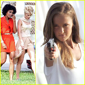 Minka Kelly: Gun Scene for 'Charlie's Angels'!