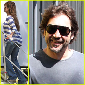 Penelope Cruz and her hubby, Javier Bardem, head to the set of her new movie ...