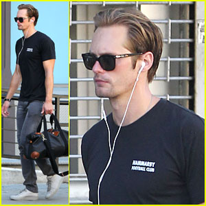 Alexander Skarsgard Works It Out in NYC
