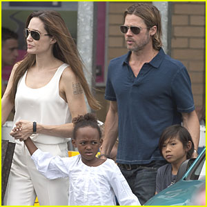 Angelina Jolie & Brad Pitt: Bike Store with the Kids!