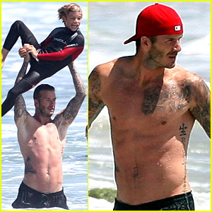 David Beckham: Shirtless Surfing with the Kids!