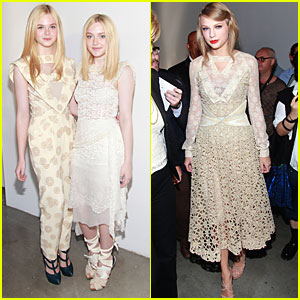 Dakota & Elle Fanning: Rodarte Fashion Show with Taylor