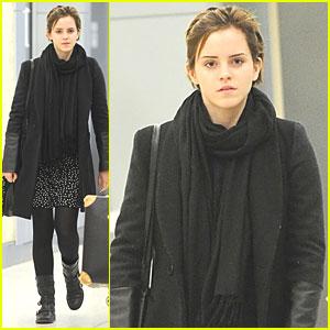 Emma Watson Jets to JFK
