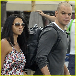 Matt Damon Boards a Boat with Luciana