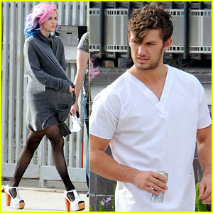 Riley Keough & Alex Pettyfer: On Set Stripper Garb!