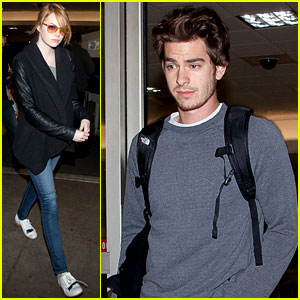 Emma Stone & Andrew Garfield Fly Into LAX