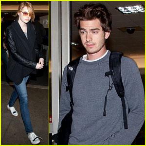 Emma Stone & Andrew Garfield Fly Into LAX