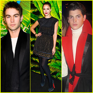 Jessica Alba: Versace for H&M Party with Chace Crawford!