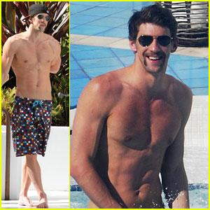 Michael Phelps: Shirtless Pool Time in Miami!