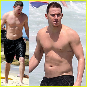 Channing Tatum shows off his fit physique as he goes shirtless at the
