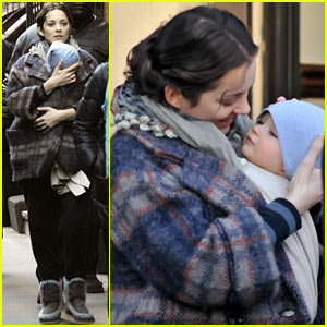 Marion Cotillard & Marcel Cuddle On Set