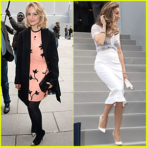 Dianna Agron & Sarah Jessica Parker: Louis Vuitton at Paris Fashion Week!