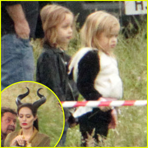 Angelina Jolie: Twins Visit 'Maleficent' Set!