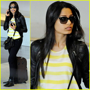 Freida Pinto: Charles de Gaulle Airport Arrival