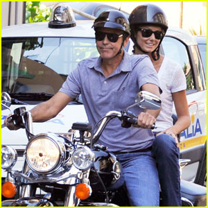 George Clooney & Stacy Keibler: Motorcycle Mates in Italy!