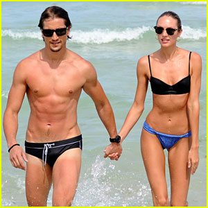 Bikini-Clad Candice Swanepoel: Beach with Hermann Nicoli!