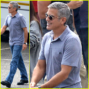 George Clooney Films Car Commercial in Italy