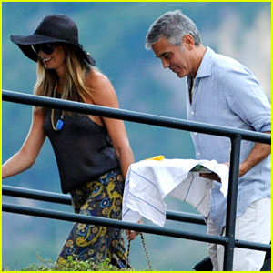 George Clooney & Stacy Keibler: Lake Como Boat Ride!
