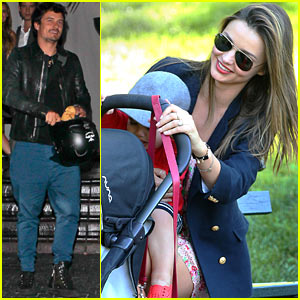 Orlando Bloom Leaves Chateau Marmont, Miranda Kerr Hangs with Flynn