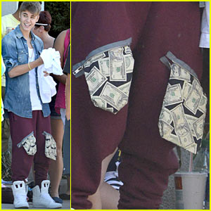 Justin Bieber's Pockets Overflowing With Money