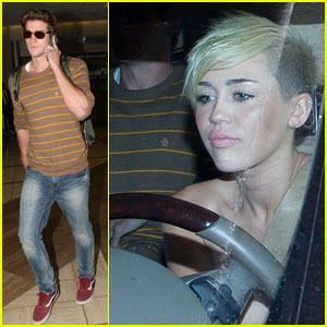 Miley Cyrus Picks Liam Hemsworth Up From LAX