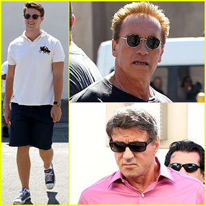 Patrick Schwarzenegger: Lunch with Dad Arnold & Sylvester Stallone