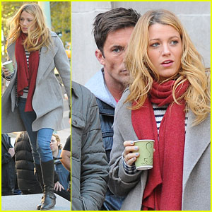 Blake Lively: 'Gossip Girl' Set with Desmond Harrington!