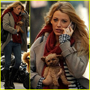 Blake Lively: Dog Day on 'Gossip Girl' Set!
