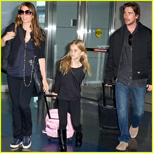 Christian Bale: JFK Airport Arrival with Sibi Blazic