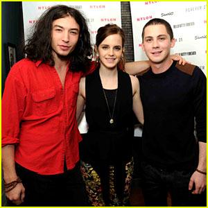 Emma Watson: 'Nylon' Dinner with Logan Lerman & Ezra Miller!