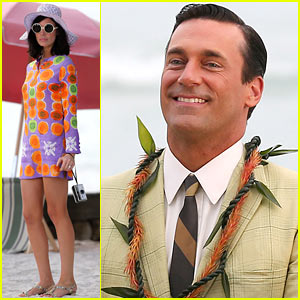 ... was joined on location by his colorfully dressed co-star Jessica Pare.