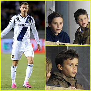 David Beckham's Boys Cheer Him on at Galaxy Soccer Game!