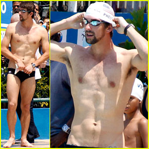 Michael Phelps: Shirtless Speedo Swim Class in Brazil!