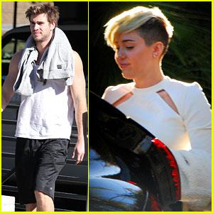 Miley Cyrus Hits the Studio, Liam Hemsworth Breaks a Sweat