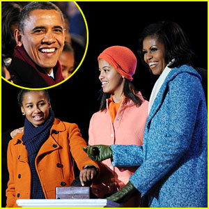 Barack Obama: Tree Lighting with Michelle & the Girls!