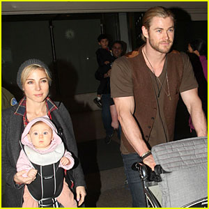Chris Hemsworth &#038; Elsa Pataky: Los Angeles Landing with India!